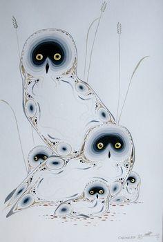 Snowy Owl FamilyBy Eddy Cobiness - Woodlands Art Original - Red Kettle Art And Collectibles Native Canadian, Native American Art, Canadian Artists, Inuit Kunst, Inuit Art, Owl Art, Bird Art, Kunst Der Aborigines, Woodland Art