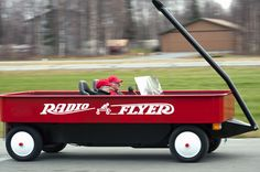 Pick-up truck converted into huge Radio Flyer. Sweet ride!