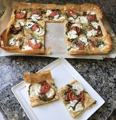 Roasted Vegetable Phyllo Dough Pizza - Step outside the traditional pizza box with flaky Roasted Vegetable Phyllo Dough Pizza recipe topped with savory vegetables, parmesan, and mozzarella.