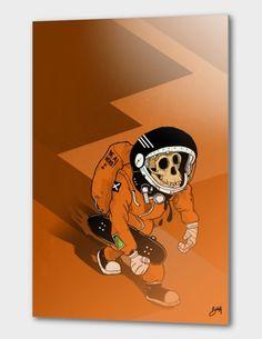 Impression par sublimation, oeuvre sur une planche d'aluminium de 1.14mm. Prêt à poser. Toutes les oeuvres sont numérotées à la main, signées, et livrées avec un certificat d'authenticité.   #illustration #spacemonkey #space #skull