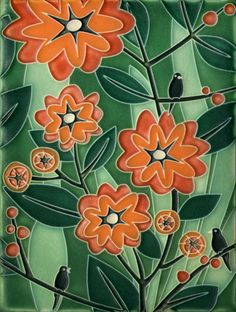 6x8 Tropicana in Green Salmon by Motawi Tileworks