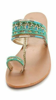 Designer Clothes, Shoes & Bags for Women Shoes Flats Sandals, Boho Sandals, Beaded Sandals, Metallic Sandals, Shoe Boots, Strappy Flats, Women Sandals, Shoes Women, Flat Shoes