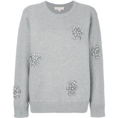Michael Michael Kors embellished jumper (1.290 RON) ❤ liked on Polyvore featuring tops, sweaters, grey, crew-neck sweaters, grey long sleeve sweater, grey jumper, summer jumpers and grey sweater
