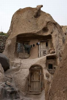 Doors in a cave home