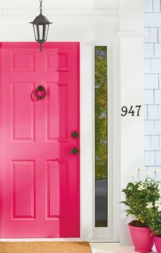 4 Ways to Style a Colorful Front Door , Pretty & Playful Front Door , Front Door Paint Colors, Painted Front Doors, Front Door Decor, Front Porch Steps, Bedroom Furniture Makeover, Porch Decorating, Windows And Doors, Outdoor Decor, Kids Furniture