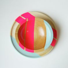 Hey, I found this really awesome Etsy listing at https://www.etsy.com/listing/107838118/modern-neon-hardwood-7-bowl-pink