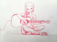 Playing a guitar., MinJung Kim on ArtStation at https://www.artstation.com/artwork/QWobB