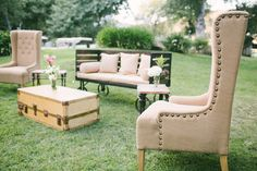 Rustic, chic outdoor lounge