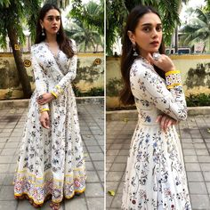 Aditi Rao Hydari's Boho Chic Look Will Be Your Next Go-To - Christmas-Desserts Indian Fashion Dresses, Indian Gowns Dresses, Dress Indian Style, Boho Fashion, Fashion Top, Fashion Trends, Designer Kurtis, Indian Designer Suits, Designer Dresses