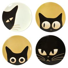 Visit Miya for our Cat Eyes Mini Plate Set. This Animal Themed Mini Plate Set is sure to please cat lovers everywhere. Made exclusively in Japan. Ceramic Painting, Stone Painting, Halloween Chat Noir, Halloween Rocks, Rock Painting Designs, Rock Crafts, Pebble Art, Stone Art, Plate Sets