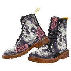 3b07d27b Sugar Skull Day of the Dead Girl Red Rose Martin Boots For Women Model  1203H.