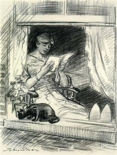 """The Effect is Spoiled"" - sketch of woman reading, cat on windowsill - John French Sloan, 1915"