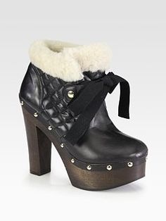 RED Valentino - Leather and Shearling Lace-Up Ankle Boots