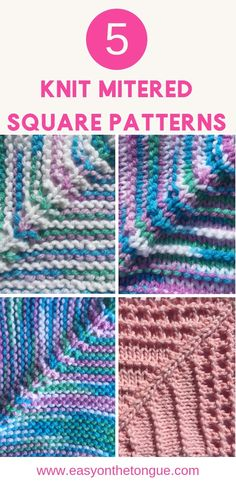 5 Knit Mitered Square Patterns to help you create a quick and easy throw knit knitmiteredsquare knitthrow knittedblanket 1 Knitting Stitches – How to Knit Moss Stitch the right way Knitted Squares Pattern, Knitting Squares, Knitting Stitches, Knitting Patterns Free, Knit Patterns, Free Knitting, Stitch Patterns, Knit Squares Blanket, Simple Knitting
