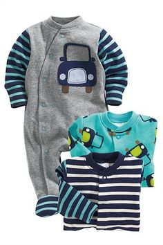 Newborn Clothing - Baby Clothes and Infantwear - Next Car Sleepsuits Three Pack - EziBuy Australia