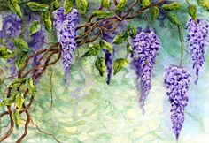 Nancy Goldman Art: Wisteria on TerraSkin Lavender Aesthetic, Wisteria Tree, Tree Stencil, Alcohol Ink Painting, Romantic Flowers, Botanical Prints, Flower Art, Watercolor Art, Illustration Art