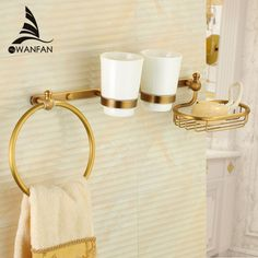 Wall Mounted Towel Ring 2 Cup Holder Soap Dish Holder Mulit-Function Shower Caddy Organizer Bathroom Storage Rack Shelves  9217 #Affiliate
