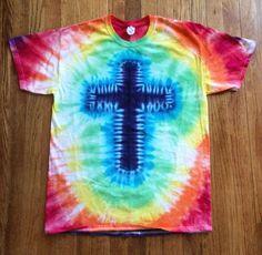 Rainbow colored tie-dye t-shirt with Christian cross symbol. Dyed on Gildan Ultra Cotton unisex t-shirts with professional Procion MX Fiber Reactive