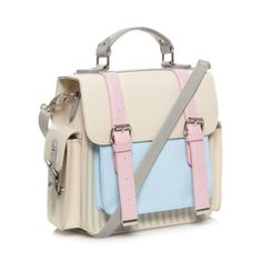 H! by Henry Holland Designer cream striped double buckle satchel- at Debenhams.com