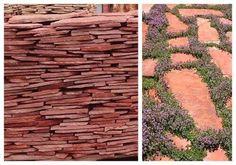 Красный песчаник для облицовки фасадов и садовых дорожек