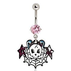316L Surgical Steel Sugar Skull on Spider Web Navel Ring by Every Body Jewelry