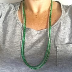 Long Family Series Necklace Made To Order Free Shipping Worldwide Green Combo