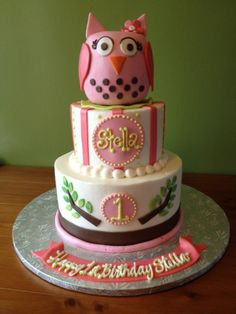 Owl cake by Michael Angelo's Bakery in Broadview Heights, OH.  The did an amazing job for Stella's 1st birthday!