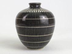 Hedwig Bollhagen Keramik Vase Bauhaus schwarz weiß Vintage Studio Pottery 1930