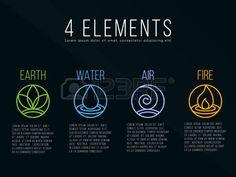 Naturaleza 4 elementos c rculo de signo Agua fuego tierra aire sobre fondo oscuro Foto de archivo