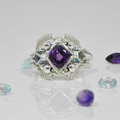 Topaz Amethyst Ring Silver Handmade Fair Trade USA Bazaars R Us
