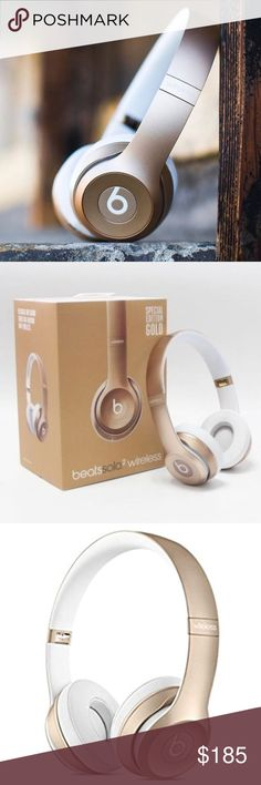 NEW Limited Edition GOLD Beats 2 headphones Brand new in box, never been opened! Beats Solo2 headphones offer improved acoustics, a wider range of sound and enhanced clarity for all the music on your iPhone, iPad or iPod. They also deliver even greater comfort thanks to a streamlined, lightweight and durable design. Perfect for a flight, the gym or just to use at home or on the go!! Tags: wireless ear head phones music song beat dr dre Best Buy Macy's Nordstrom fye sound guys LE base sound…