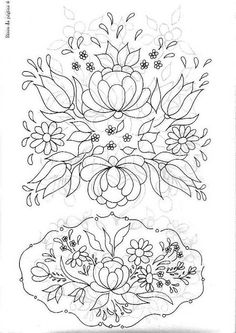 pattern for Bauernmalerei Polish Embroidery, Mexican Embroidery, Hungarian Embroidery, Embroidery Transfers, Crewel Embroidery, Embroidery Patterns, Tole Painting, Fabric Painting, Pattern Drawing