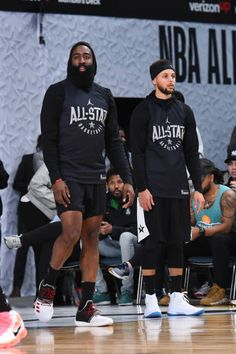 James Harden and Stephen Curry of Team Stephen look on during NBA AllStar Media Day Practice as part of 2018 NBA AllStar Weekend at the Los Angeles. Stephen Curry Basketball, Mvp Basketball, Basketball Tickets, Basketball Legends, College Basketball, James Harden, Golden State Warriors, Irving Nba, Stephen Curry Family