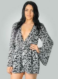 Printed Deep V-Neck Playsuit #longsleeve #black #white #ustrendy #chic