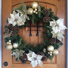 Silver and Gold Pine Cone Poinsettia Wreath All Things Christmas, Christmas Time, Christmas Crafts, Merry Christmas, Wreaths For Sale, Xmas Wreaths, New Years Decorations, Christmas Decorations, Holiday Decor