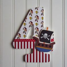 Birthday Photo Prop, Wooden Number, First Birthday, Second Birthday, Third Birthday, Number 4, Jake and the Neverland Pirates Theme, 3-D on Etsy, $19.00