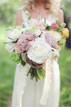 romantic blush and white peony, rannunculus and rose bouquet by Blush Petals