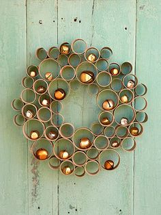 Honeycomb Wreath - reduce, reuse, recycle toilet-paper, paper towel and mailing tubes to make this beautiful wreath…