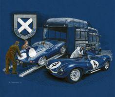 The Écurie Écosse Jaguar D-Type No.4 that won the 1956 24 heures du Mans. Pen&ink and paint markers on blue archival stock © Paul Chenard