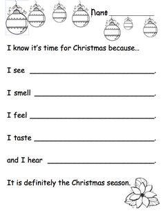 5 Senses Holiday Writing Prompt - Can be used for interactive writing or as a prompt. Use to help students focus on word choice, parts of speech, etc. Free product on TpT. by ivy Kindergarten Writing, Teaching Writing, Writing Activities, Classroom Activities, Advent Activities, Writing Practice, Writing Ideas, Classroom Ideas, Holiday Writing