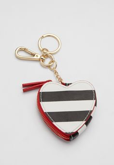 striped heart coin purse handbag charm  (original price, $10.00) available at #Maurices