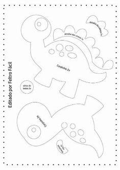 Disclosure of felt templates, tutorials, ideas and inspirations! Felt Animal Patterns, Stuffed Animal Patterns, Sewing Crafts, Sewing Projects, Felt Templates, Dinosaur Pattern, Dinosaur Birthday, Felt Fabric, Applique Patterns