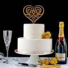 Celtic Heart Wedding Cake Topper in Gold - YourPerfectFinish Gold Cake Topper, Wedding Cake Toppers, Celtic Heart, Celtic Knot, Heart Wedding Cakes, Luxury Cake, French Wedding, Gold Wedding, Cupcake Picks