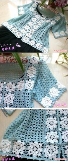 Women Crochet Cardigan/Gray Crochet Jacked/Crochet by Bisakole Blouse Au Crochet, Black Crochet Dress, Crochet Coat, Crochet Jacket, Crochet Cardigan, Crochet Clothes, Crochet Squares, Crochet Stitches, Knitting Patterns