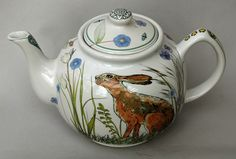 Family-sized white stoneware Teapot with hare, frog and other creatures doing their thing amongst meadow flower. This teapot was inspired by the Glyndebourne meadow pieces made for the 2012 season. Meadow Flowers, Hare, Teapot, Stoneware, Creatures, Seasons, Tableware, Tea Pot, Dinnerware