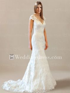 Sexy Lace Wedding Dress with Cap Sleeves BC355-$299.00-Click here to see more detail: www.inweddingdress.com/style-bc355.html #bridalgowns #weddingdresses #lace