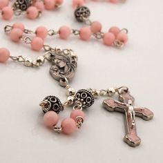 Catholic Rosary w/Pink Enamel Cross and Pink Jade