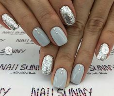 Gray and Silver Nails. Nails With Rhinestones. Gray and Silver Nails. Nails With Rhinestones. Silver Glitter Nails, Rhinestone Nails, Silver Acrylic Nails, Nail Art Rhinestones, Glitter Nikes, Glitter Manicure, Short Nails Acrylic, White Sparkle Nails, Colored Acrylic Nails