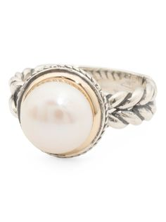 Made In Thailand 14k Gold And Sterling Silver Pearl Ring