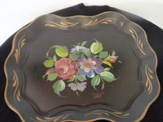 Vintage Black Hand Painted Tole Tray by by SocialmarysTreasures, $35.99
